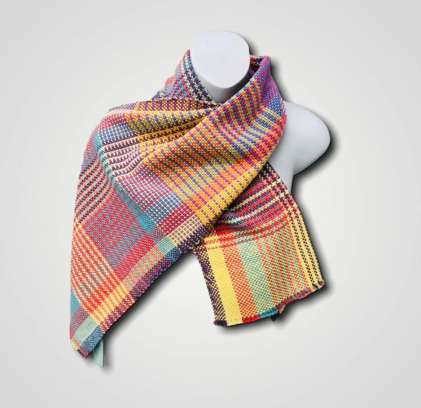 Handwoven Cotton Scarf Wrap - Multi colour patterned