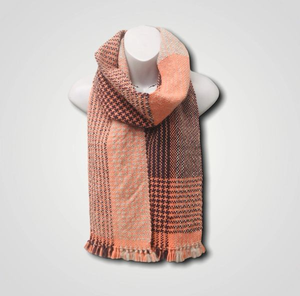 Handwoven merino and cashmere blend scarf - long length