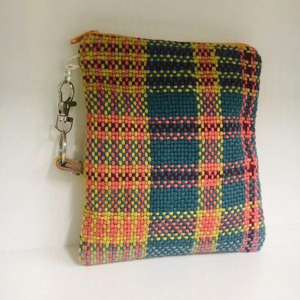 Handwoven Cotton fabric - small zipped Purse, with leather wristlet strap