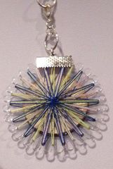 Thread wrapped necklet - blue