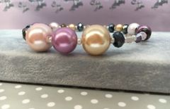 Vintage inspired beaded bangle glass Crystals & Pearls