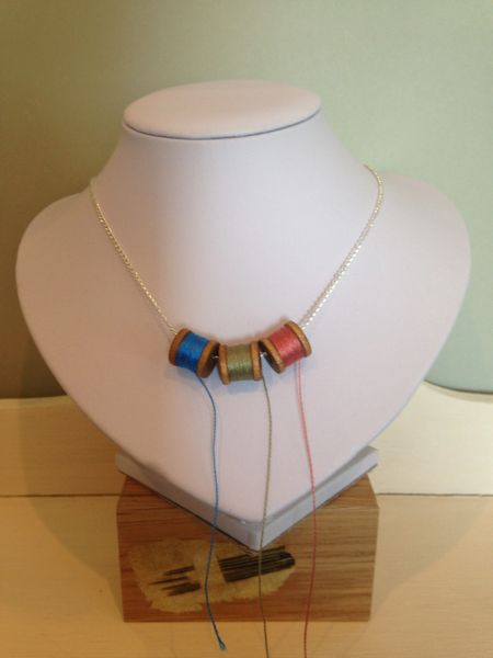 'I Love Textiles' Necklet - with mini spools of fine silk thread