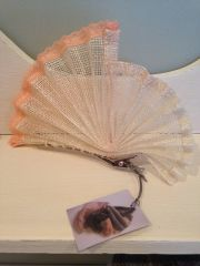 Fan pleated fascinator - softly edged with peach lace