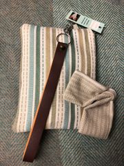 Wristlet strap purse - handmade in woven cotton fabric