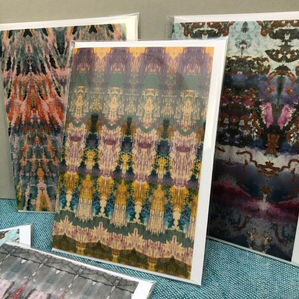 Art cards printed in a range of colourful textile designs