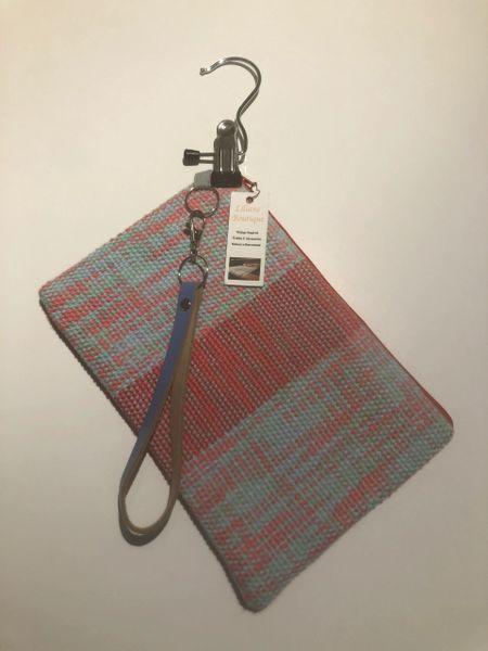Wristlet strap purse - handwoven cotton fabric