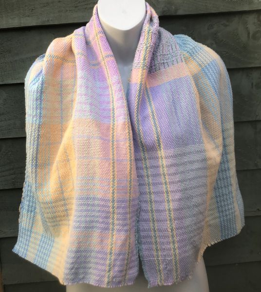 Handwoven Cotton Scarf Wrap - Iced Candyfloss