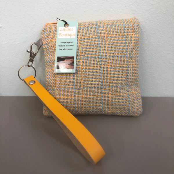 Handwoven Cotton fabric - small square zipped Purse, with leather wristlet strap