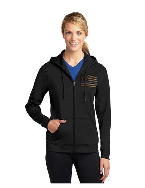 Hooded Full Zip Drifit Fleece jacket - Blue Line Flag