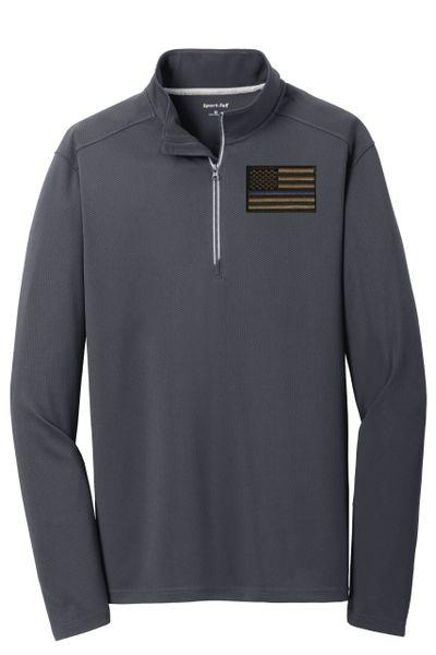 Qtr Zip Mens, Textured Drifit Pullover - Blue Line Flag