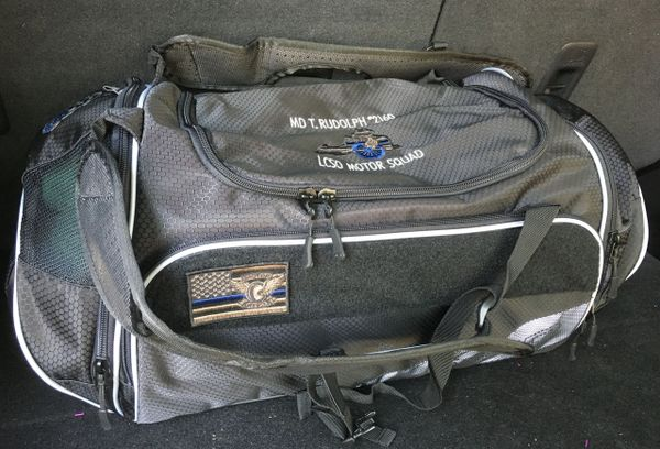 B8 - Gear Bag-Duffle-Backpack. CUSTOMIZE with embroidered Name, rank, dept., Blue line flag, Motors logo