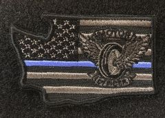 Patch - Motors Winged Wheel Any State Thin Blue Line Velcro patch