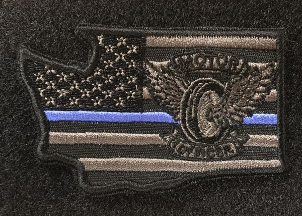 A8 Patch - Motors Winged Wheel Any State Thin Blue Line Velcro patch