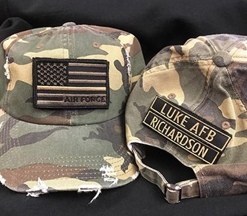 C1 - Active Military Distressed Camo Patch hat, Personalized with name tag and Branch