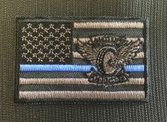 Patch - Motors Winged Wheel Flag Thin Blue Line Velcro patch