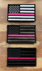 A12 - Breast Cancer Pink Line Flag Patch