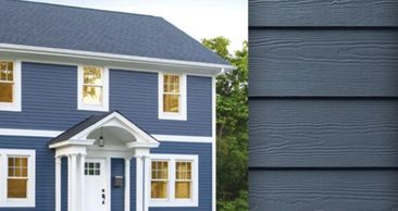 blue beautiful vinyl siding offer by Alberta strong roofing