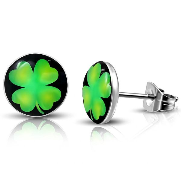 pair Stainless Steel Multi Color Love Heart Circle Stud Earrings