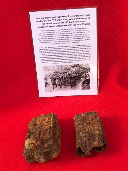 German torch and mp44 magazine remains both in relic condition recovered from a large pit used by soldiers of the 5th Panzer Army who surrendered to the Americans on the 17th April 1945 near Langenfeld south of Dusseldorf in the Ruhr Pocket