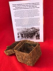 German MG34/42 machine gun optical sight battery box relic condition recovered from a large pit used by soldiers of the 5th Panzer Army who surrendered to the Americans on the 17th April 1945 near Langenfeld south of Dusseldorf in the Ruhr Pocket