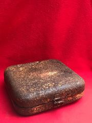 German small medical box,sand colour paintwork,red cross remains nice condition recovered from the Ardennes Forest from the battle of the Bulge 1944-1945