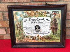 Original German Great War soldier glass framed remembrance picture for a soldier who died in April 1918 he won the Iron Cross who fought in Arras and on the Somme 1917-1918 with his photograph