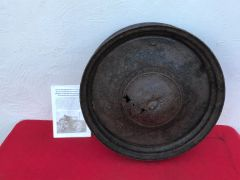 German Opel Kaptain saloon car wheel,relic condition with paintwork recovered from Priekule in the Kurland pocket defended by the SS Nordland Division during the battle 1944-1945
