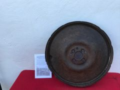 German IF-8 trailer wheel,relic condition with paintwork recovered from Priekule in the Kurland pocket defended by the SS Nordland Division during the battle 1944-1945