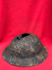 Rare British soldiers 1st pattern Red cross brodie helmet, red paint remains,nicely cleaned recovered in 2013 from a British first aid station in Aveluy woods rear area of July 1916 Somme battlefield
