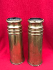 British 18 pounder brass shell cases matching pair of trench art chimney design complete in very nice condition both dated 1917 found on the Somme battlefield of 1916-1918