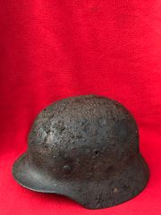 German soldiers M35 helmet fantastic condition relic with lots of original green paintwork,named,liner ring recovered from Sevastopol the battlefield of 1941-1942 in the Crimea