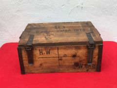 Very rare German wooden crate for 10 rounds of Granatenwerfer 15 launched grenade with nice markings and dated 1915 found on the Somme 1916-1918 battlefield