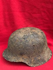 German soldiers M42 helmet nice solid relic with sand camouflage paint remains very well cleaned recovered from Monte Cassino Italian battlefield of 1944 from a local museum which closed down in 2015