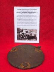 Underbelly maintenance cover from German Panther Tank recovered from near Rochefort which was a village attacked by the Panzer Lehr division on the 23rd December 1944 during the battle of the bulge