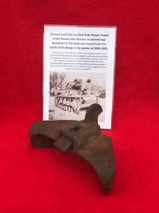 Ice cleat late war type,lovely condition from German Panzer 4 Tank recovered from near Rochefort which was a village attacked by the Panzer Lehr division on the 23rd December 1944 during the battle of the bulge