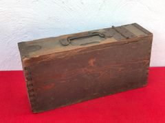 Very Rare 1st Pattern German Maxim machine gun wooden ammunition box with green paintwork and maker marked on the inside lid found on the on the famous Somme battlefield of 1916-1918