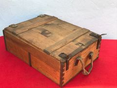 World War 1 German ammunition wooden crate for 7.92mm bullets captured re used by the British with replacement leather straps found on the Somme battlefield 1916-1918
