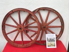 Pair of wooden wheels from a German field kitchen,overpainted post war,nice solid condition found on the Somme battlefield 1916-1918