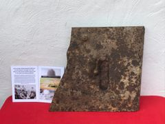 German blown apart sniper shield,working door,original black paintwork recovered in 2014 from La Boisselle in field opposite Lochnagar mine crater 1st July 1916 front line on the Somme battlefield
