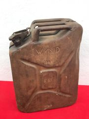 British fuel can or better known the famous Jerry can dated 1943 with the War Department arrow recovered on a Farm in the Village of Clecy near Falaise in Normandy