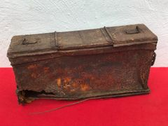 British tank Besa machine gun belt ammunition box with markings recovered from the Bourguebus Ridge part of Operation Goodwood 18-21 July 1944 in Normandy