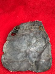 German soldiers gas cape bag in relic condition,but solid recovered on a Farm from near Houffalize in the Ardennes forest from battle of the bulge winter 1944-1945