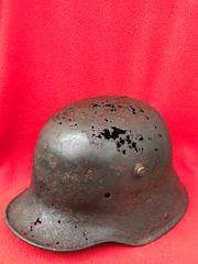 German soldiers M16 helmet with original paintwork remains recovered near Villers Bretonneux 1918 Australian battlefield stopping German advance