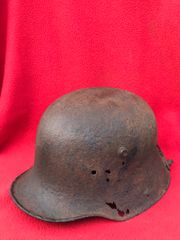 German soldiers M16 helmet used as a food scoop,nice condition relic found on a Farm at Gommecourt on the 1st July 1916 Somme battlefield