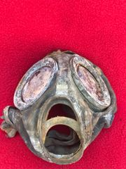 German soldiers rubber gas mask,nice solid relic recovered from German Fallschirmjager soldiers fox holes on Hill 192 part of the battle of St Lo on the Normandy battlefield of July 1944.