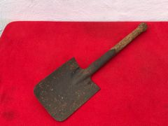 German soldiers complete shovel,original wooden handle recovered from vehicle of the 116th Panzer Division recovered from near Houffalize in the Ardennes forest from battle of the bulge winter 1944-1945