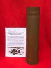 French 75mm brass shell case dated 1918 captured in 1940 re used by the German army in the PAK 97/38 anti-tank gun from near Elsenborn Ridge in the Ardennes Forest 1944-1945