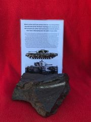 Blown section of 51mm armour plate from the rear hull of British Churchill Tank of the 7th Royal Tank Regiment recovered from hill 112 near Caen in Normandy