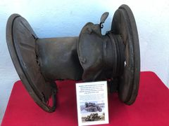 Telephone cable reel from German Kettenkrad half track gun tractor of the Panzer Lehr division recovered near Rochefort in the Ardennes forest,battle of the Bulge 1944