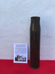 German fantastic condition steel shell case 7.5cm KwK40,dated 1944,waffen stamped lots of brass wash remains fired by Panzer 4 Tank recovered from the Reichswald Forest part of the Siegfried Line 1945 battle in Germany